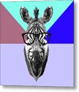 Party Zebra In Glasses Metal Print