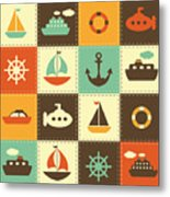 Patchwork Background With Sea Transport Metal Print
