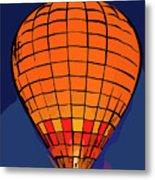 Peach Hot Air Balloon Night Glow In Abstract Metal Print
