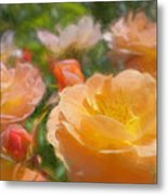 Peach Yellow Roses Metal Print