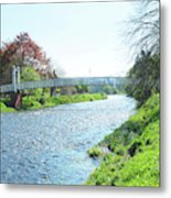 pedestrian bridge over river Tweed at Peebles Metal Print