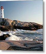 Peggys Cove Lighthouse & Waves Metal Print