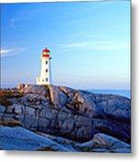 Peggys Cove Lighthouse At Sunrise Metal Print