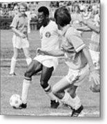 Pele Running With Soccer Ball Metal Print