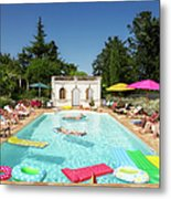 People Enjoying Summer Around The Pool Metal Print