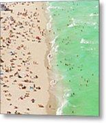 People On Beach An In Water, Aerial View Metal Print