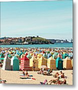 People Relaxing On Gijón Beach Metal Print