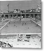 People Swimming In Pool, B&w, Elevated Metal Print
