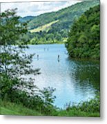 People Use Stand-up Paddleboards On Lake Habeeb At Rocky Gap Sta Metal Print
