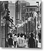 People Walking Before Baltimore Mall Metal Print