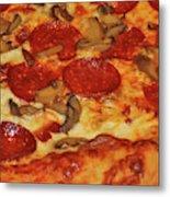 Pepperoni Pizza Mushrooms Metal Print