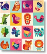 Perfect Vector Set Of Illustration In Metal Print