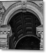 Philadelphia City Hall Fresco In Black And White Metal Print