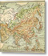 Physical Map Of Asia Metal Print