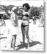 Picasso And Bikini-clad Woman On The Metal Print