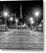 Pier 7 In Black And White Metal Print