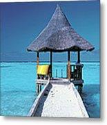 Pier And Blue Indian Ocean, Maldives Metal Print