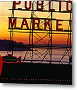 Pike Place Market Sign, Seattle Metal Print