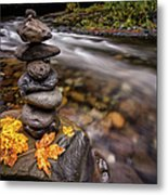 Pile Of Rocks And Autumn Leaves Next To Metal Print