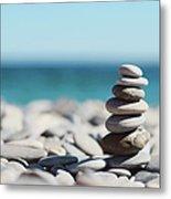 Pile Of Stones On Beach Metal Print