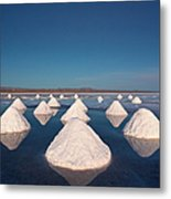 Piles Of Salt Dry In The Arid Metal Print