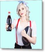 Pin-up Girl Holding Soft Drink Bottle Metal Print