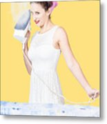 Pin Up Woman Providing Steam Clean Ironing Service Metal Print