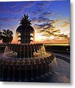 Pineapple Fountain In Charleston Metal Print