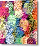 Pineapple Party- Art by Linda Woods Metal Print