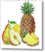 Pineapple Pear Watercolor Food Illustration  Metal Print