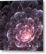 Pink Abstract Flower With Sparkles On Metal Print