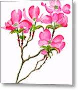 Pink Dogwood Vertical Design Metal Print