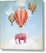 Pink Elephant In The Sky With Balloons Metal Print