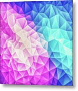 Pink Ice Blue  Abstract Polygon Crystal Cubism Low Poly Triangle Design Metal Print