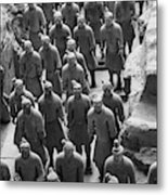 Pit 1 Of Terra Cotta Warriors In Black And White Metal Print