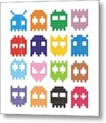 Pixel Monster Icon Metal Print