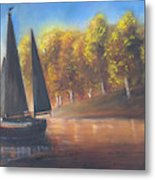 Plain Sailing, Boat Painting Metal Print