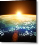 Planet Earth With A Spectacular Sunset Metal Print