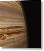 Planet Jupiter And A Distant Moon Metal Print