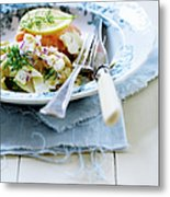 Plate Of Pasta With Fish Metal Print