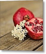 Pomegranate And Flowers On Tabletop Metal Print