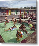 Poolside Fun At Arca Manor Metal Print