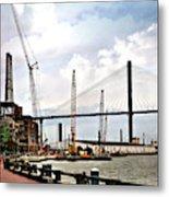 Port Of Savannah Crane Construction Metal Print