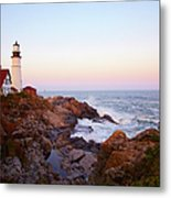 Portland Head Lighthouse At Sunset Metal Print