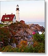Portland Head Lighthouse At Susnet Metal Print