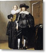 Portrait Of A Betrothed Couple  Metal Print