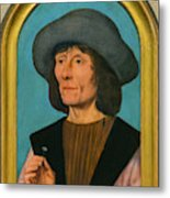 Portrait Of A Man With A Pink Metal Print