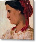 Portrait Of Angela B Cklin In Red Fishnet Metal Print