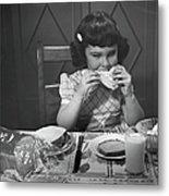 Portrait Of Little Girl Eating Buttered Metal Print