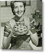 Portrait Of Mature Woman Holding Pie Metal Print